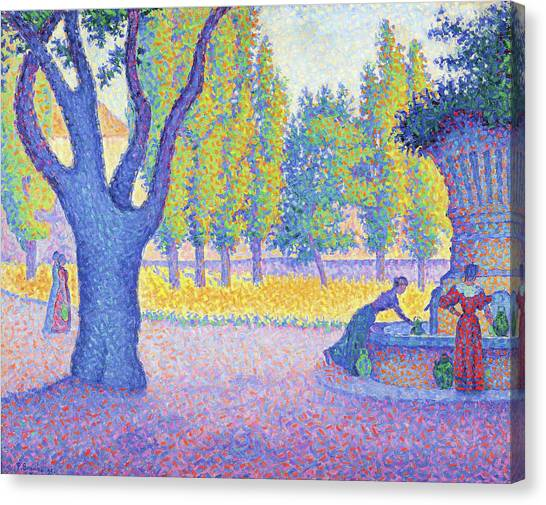 Signac Canvas Print - Saint-tropez, Fountain Of The Lices - Digital Remastered Edition by Paul Signac
