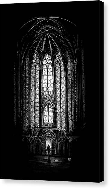 Canvas Print featuring the drawing Sainte-chapelle by Clint Hansen