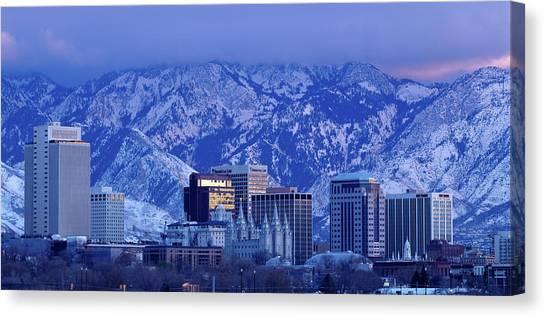 Salt Lake City Skyline With Wasatch Canvas Print by John Telford Photographs