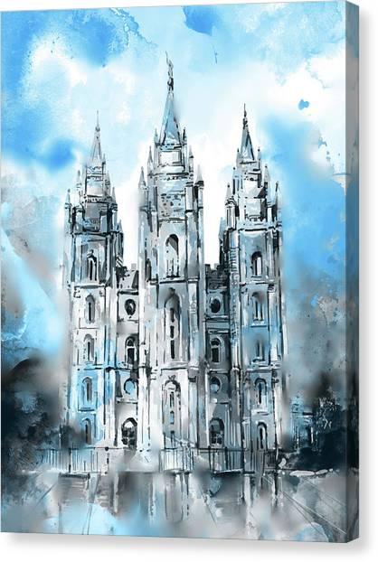 Salt Lake Temple Canvas Print - Salt Lake City Temple 6 by Bekim Art