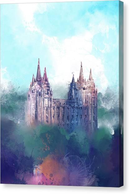 Salt Lake Temple Canvas Print - Salt Lake City Temple Watercolor 2 by Bekim Art