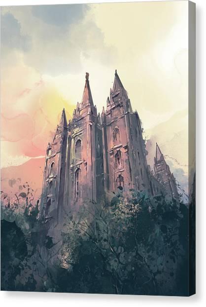 Salt Lake Temple Canvas Print - Salt Lake City Temple Watercolor 3 by Bekim Art