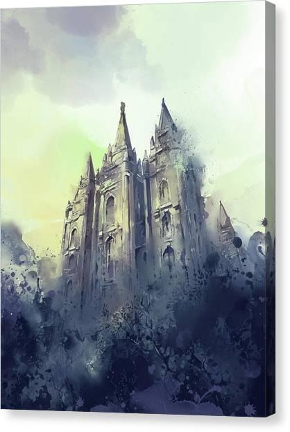 Salt Lake Temple Canvas Print - Salt Lake City Temple Watercolor 4 by Bekim Art