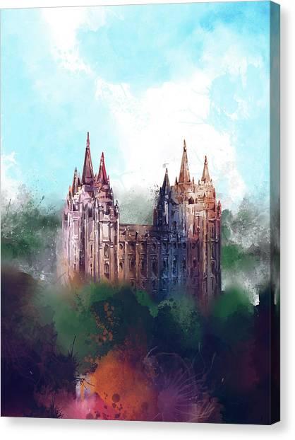 Salt Lake Temple Canvas Print - Salt Lake City Temple Watercolor by Bekim Art