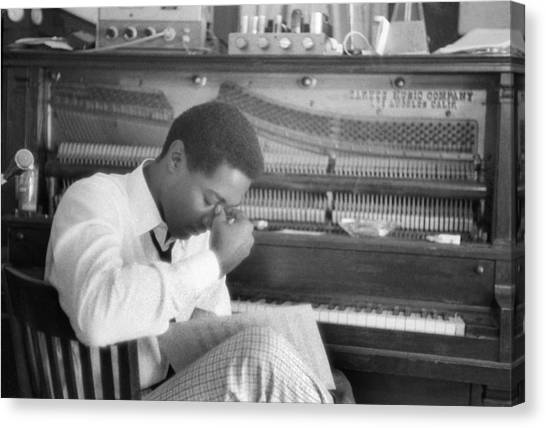 Sam Cooke At The Piano Canvas Print by Michael Ochs Archives