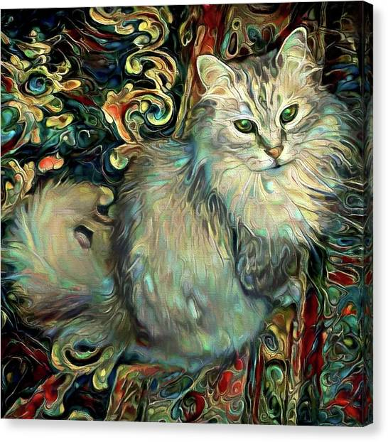 Samson The Silver Maine Coon Cat Canvas Print