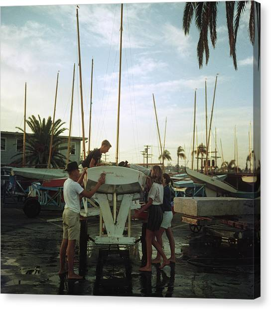 San Diego Boatyard Canvas Print by Slim Aarons