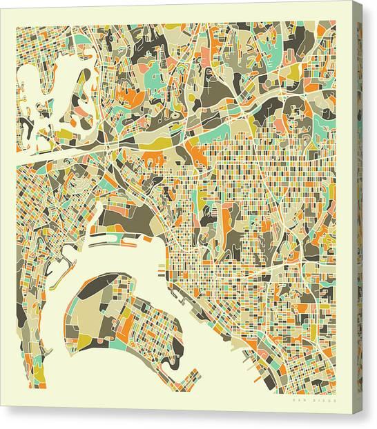 San Diego Canvas Print - San Diego Map 1 by Jazzberry Blue