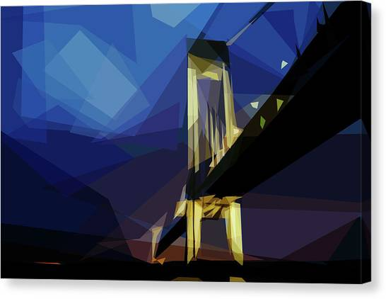 Canvas Print featuring the digital art San Francisco Bridge by ISAW Company