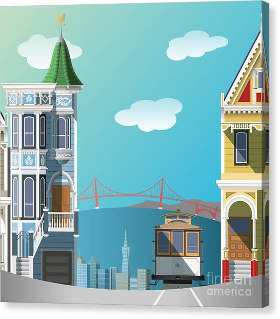 Famous Places Canvas Print - San Francisco Landscape by Nikola Knezevic