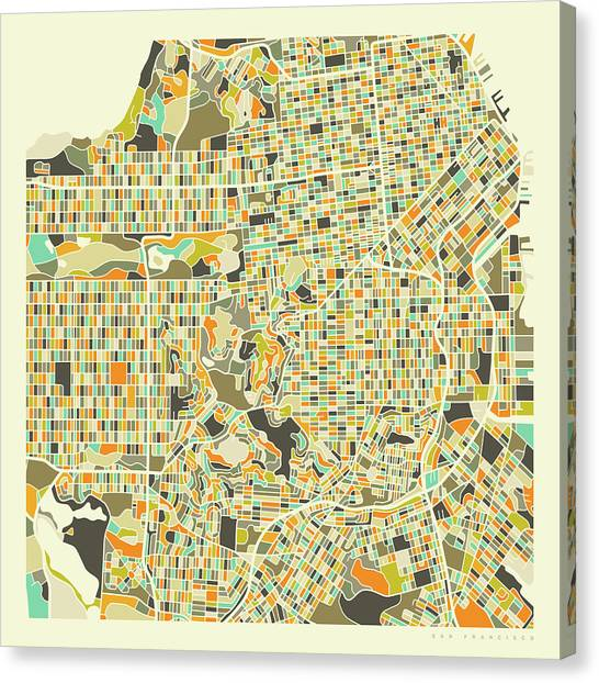 Map Canvas Print - San Francisco Map 1 by Jazzberry Blue