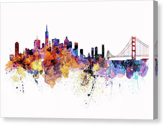 Affordable Canvas Print - San Francisco Watercolor Skyline by Marian Voicu