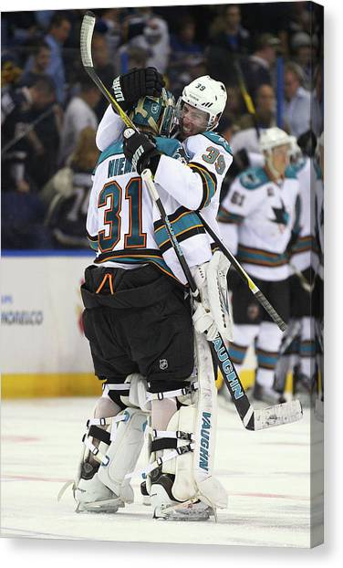 San Jose Sharks V St. Louis Blues - Canvas Print by Dilip Vishwanat