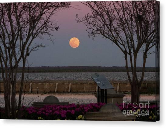 Sanford Riverwalk-moonrise-9395 Canvas Print