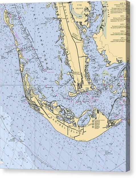 Sanibel And Captiva Islands Nautical Chart Canvas Print