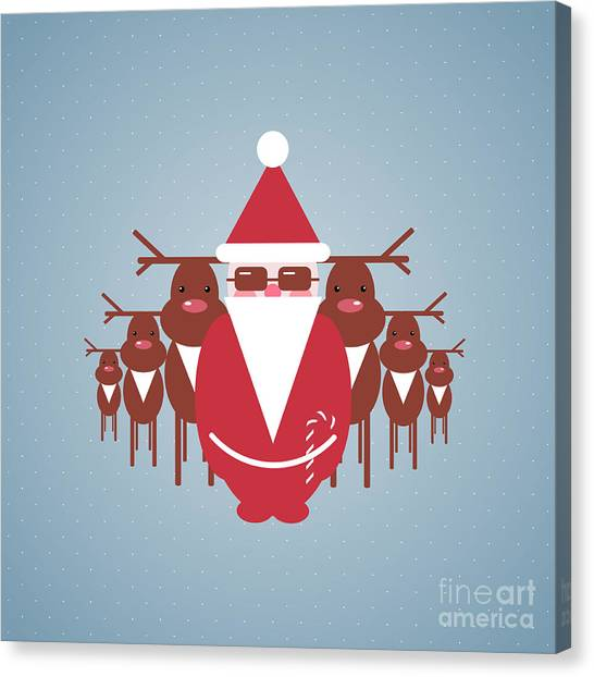 Winter Fun Canvas Print - Santa And His Reindeer Gang by Popmarleo