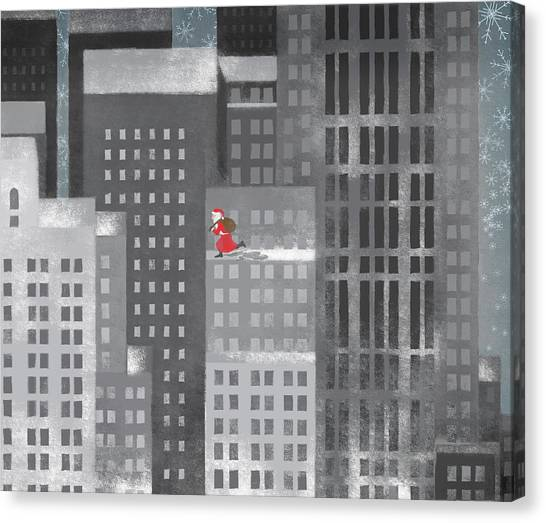 Santa Clause Running On A Skyscraper Canvas Print