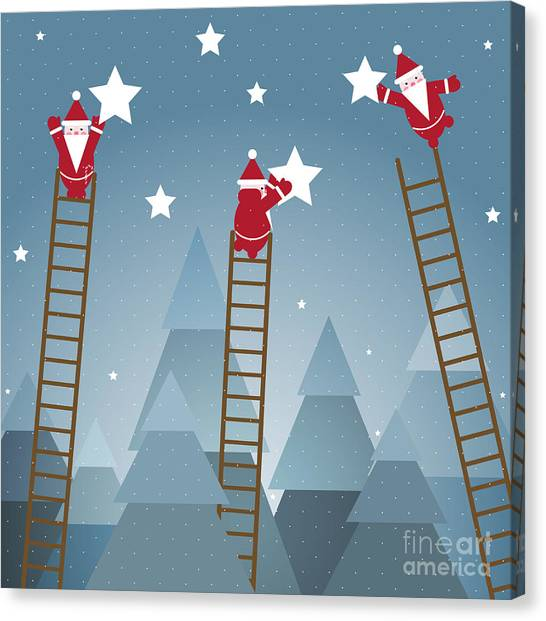 Winter Fun Canvas Print - Santa Hanging Stars And Christmas by Popmarleo