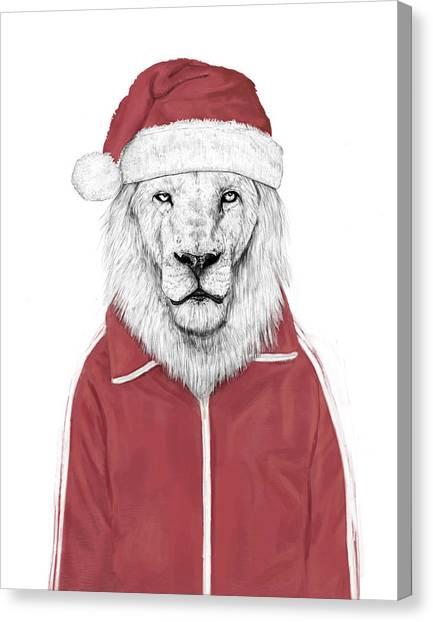 Winter Canvas Print - Santa Lion  by Balazs Solti