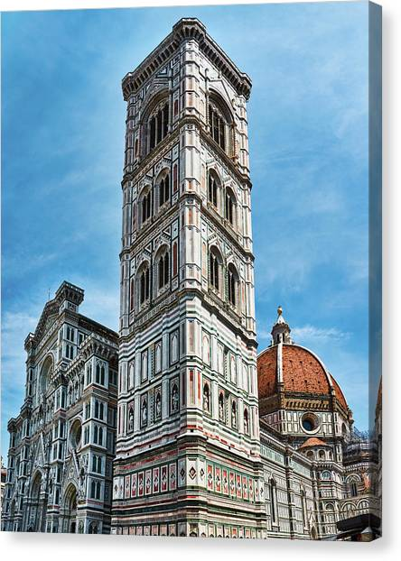 Santa Maria Del Fiore Cathedral Doorway And Bell Tower Canvas Print