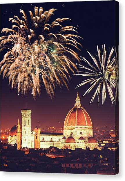 Santa Maria Del Fiore Dome In Florence Canvas Print by Franckreporter