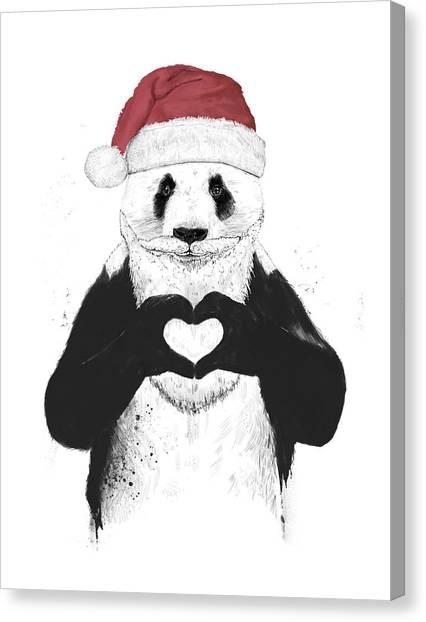 Winter Canvas Print - Santa Panda by Balazs Solti
