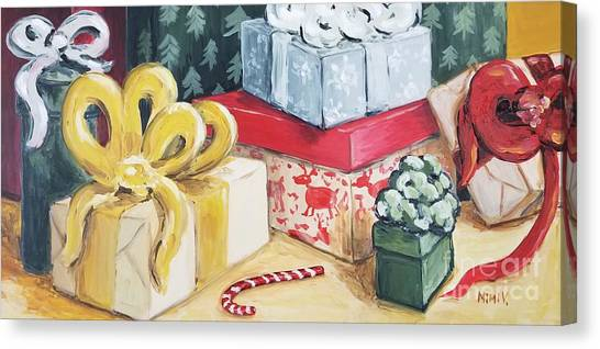 Canvas Print featuring the painting Santa Was Here by Maria Langgle
