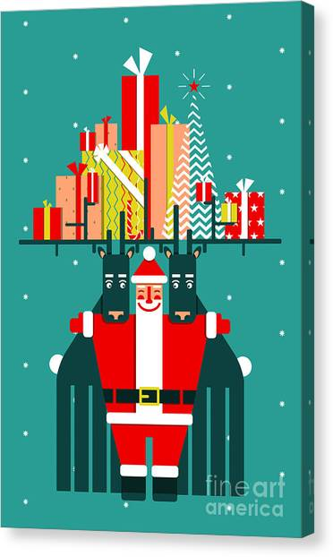 Winter Fun Canvas Print - Santa With Deers Gifts And Presents by Popmarleo