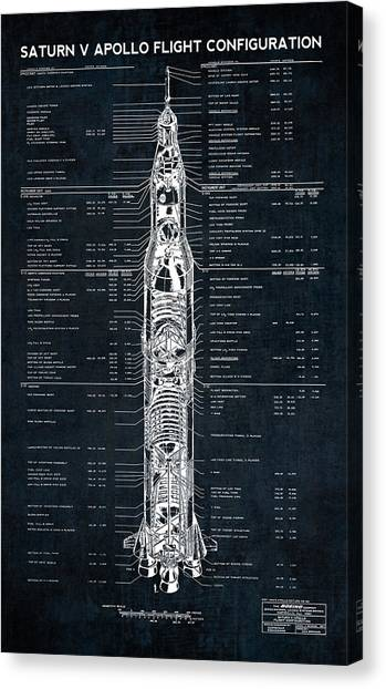 Patent Canvas Print - Saturn V Apollo Moon Mission Rocket Blueprint  1967 by Daniel Hagerman