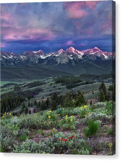 Sawtooth Sunrise Canvas Print by Leland D Howard