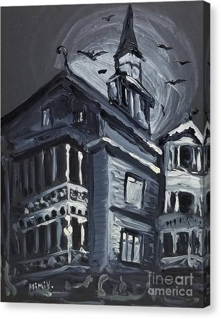 Canvas Print featuring the painting Scary Old House by Maria Langgle