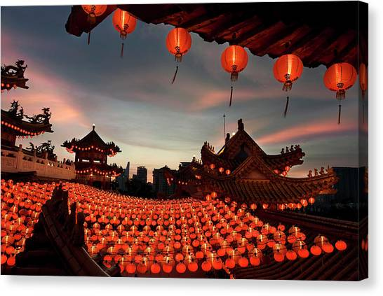 Chinese New Year Canvas Print - Scene Of Chinese Temple With Lanterns by Collinschin