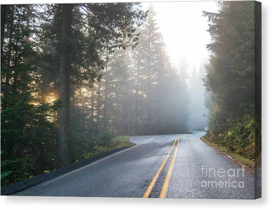 Empty Canvas Print - Scene Of Road To Mt Baker  On The by Checubus