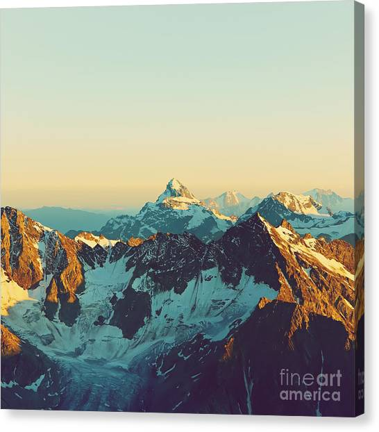 Ice Climbing Canvas Print - Scenic Alpine Landscape With And by Evgeny Bakharev