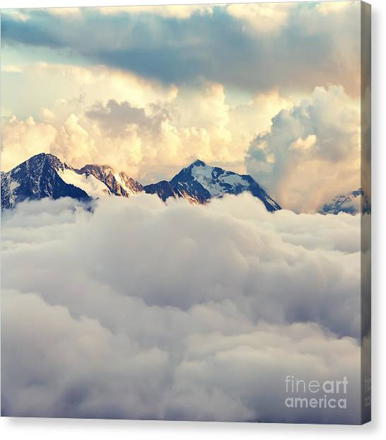 Ice Climbing Canvas Print - Scenic Alpine Landscape With Mountain by Evgeny Bakharev