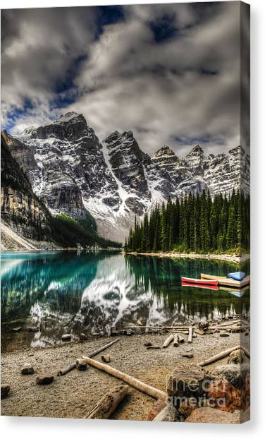 Canoe Canvas Print - Scenic Mountain Landscape Of Moraine by Bgsmith