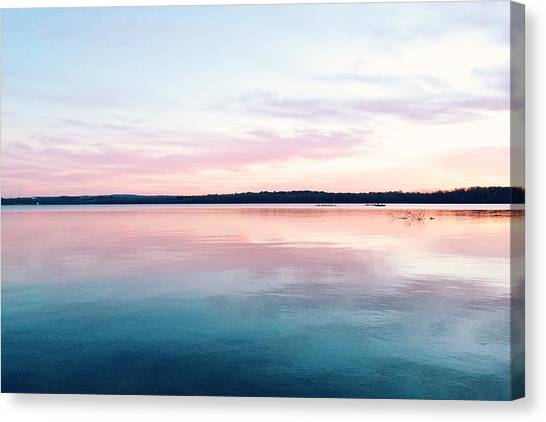 Scenic View Of Calm Sea Against Cloudy Canvas Print by Thomas Weng / Eyeem