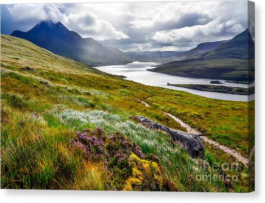 Cliffs Canvas Print - Scenic View Of The Lake And Mountains by Martin M303