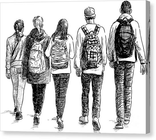 Student Canvas Print - School Children by Chronicler
