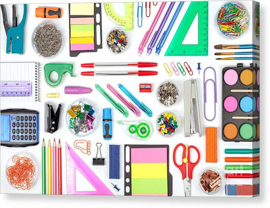Teacher Canvas Print - School Tools On White Background Top by 123object