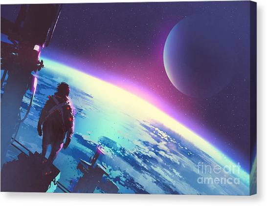 Atmosphere Canvas Print - Sci-fi Concept Of The Man Looking At A by Tithi Luadthong