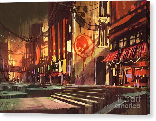 Sci-fi Scene Of Shopping Canvas Print by Tithi Luadthong