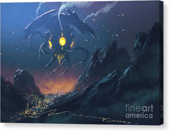 Acrylic Canvas Print - Sci-fi Scene Of The Alien Ship Invading by Tithi Luadthong