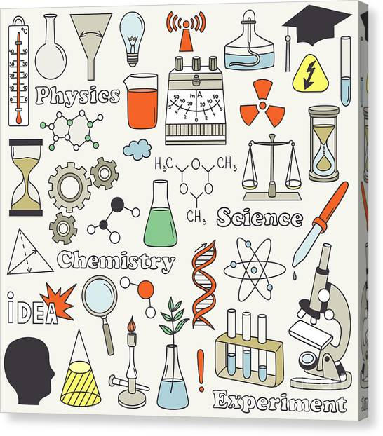 Molecule Canvas Print - Science Icon Set Hand Drawn. Doodle by Talirina