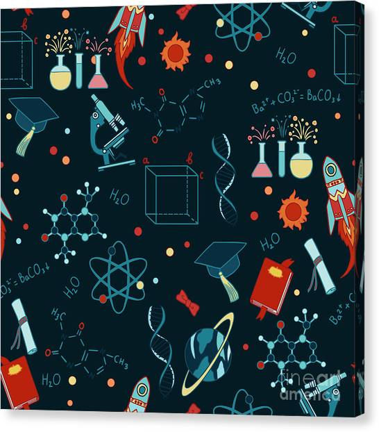 Molecule Canvas Print - Science Stuff Vector Seamless Pattern by Anastasia Mazeina