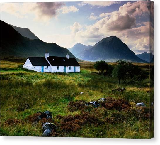 Scotland,glencoe,black Rock Cottage Canvas Print by Charlie Waite