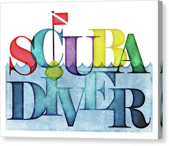 Scuba Diving Canvas Print - Scuba Diver Colorful by Flo Karp