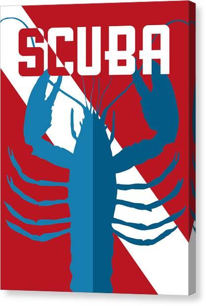 Scuba Diving Canvas Print - Scuba Lobster by Flo Karp