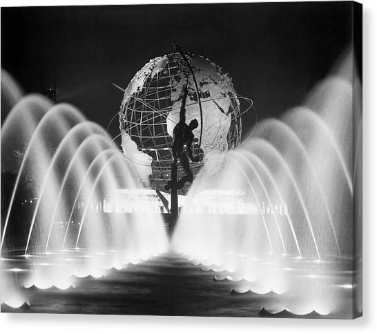 Sculpture, Fountains, And Unisphere At Canvas Print by Bettmann