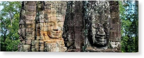 Canvas Print - Sculptures At Bayon Temple, Angkor by Panoramic Images